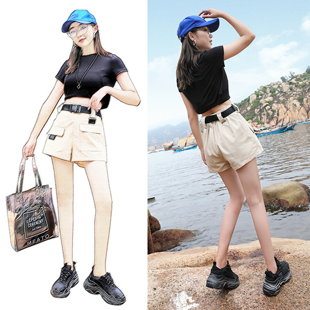 2019 New Womens Cargo Shorts Cotton Overalls Pants Casual Multi-pockets High Waist Loose Trouser Fashion