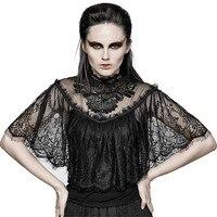 Gothic vrouwen Kant Schouderophalen Sjaal T-shirts Prachtige Bloemmotief Kant Shirts Sexy doorkijkmodel Korte Mouw Top