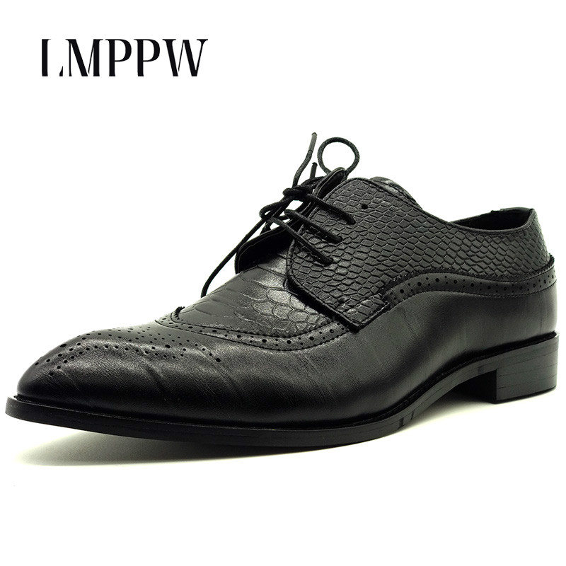 Big Size Men Shoes High Quality Men Oxford Shoes Serpentine Men Leather Business Casual Shoes Lace Up Brogue Shoes Fashion 2A
