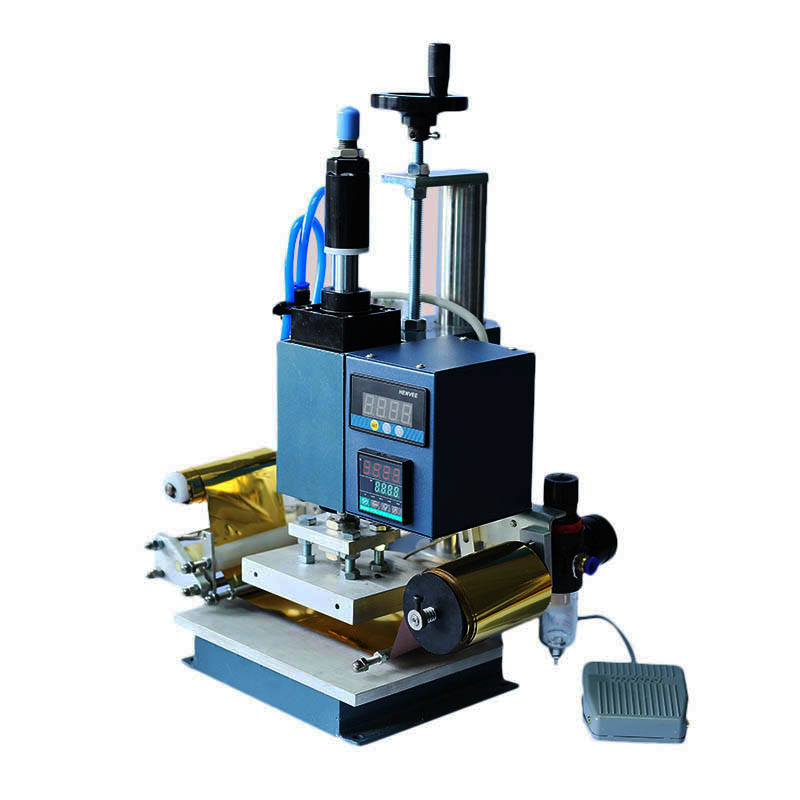 Air Operated Hot Foil Stamping Automatic Roll Logo Embossing Machine Pneumatic Foot operated Switch 5*7cm Heat Pressure Machine