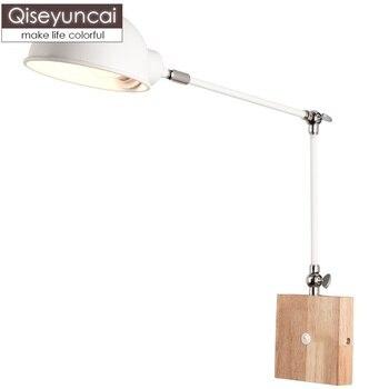 Qiseyuncai Скандинавская современная настенная лампа с длинным кронштейном, простая креативная прикроватная тумбочка для спальни, светодиодно...