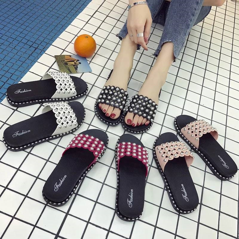 2019 PKSAQ Women Slippers Summer Women Slides Sequin Flowers Sandals Slip On Flip Flops Beach Slippers Zapatillas Mujer