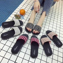 2019 PKSAQ Women Slippers Summer Slides Sequin Flowers Sandals Slip On Flip Flops Beach Zapatillas Mujer