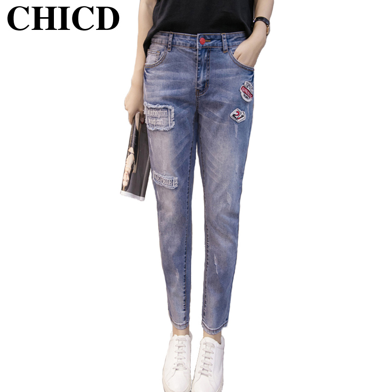 ФОТО CHICD New Spring Autumn Women Jeans Ripped jean Pants Vintage Jeans Patchwork Cross Denim Trousers Loose Jeans Clothes XP136