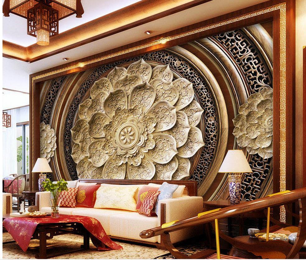 US $100.0 |3d tapete für zimmer holzschnitzerei blumen hintergrund  benutzerdefinierte 3d fototapete wohnzimmer 3d wallpaper-in Tapeten aus ...