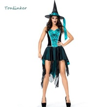 Halloween Sexy Swallowtail Blue Witch Cosplay Costume Carnival Party Dress+Hat Stage Show