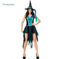 Halloween Sexy Swallowtail Blue Witch Cosplay Costume Carnival Party Dress+Hat Witch Stage Show Costume