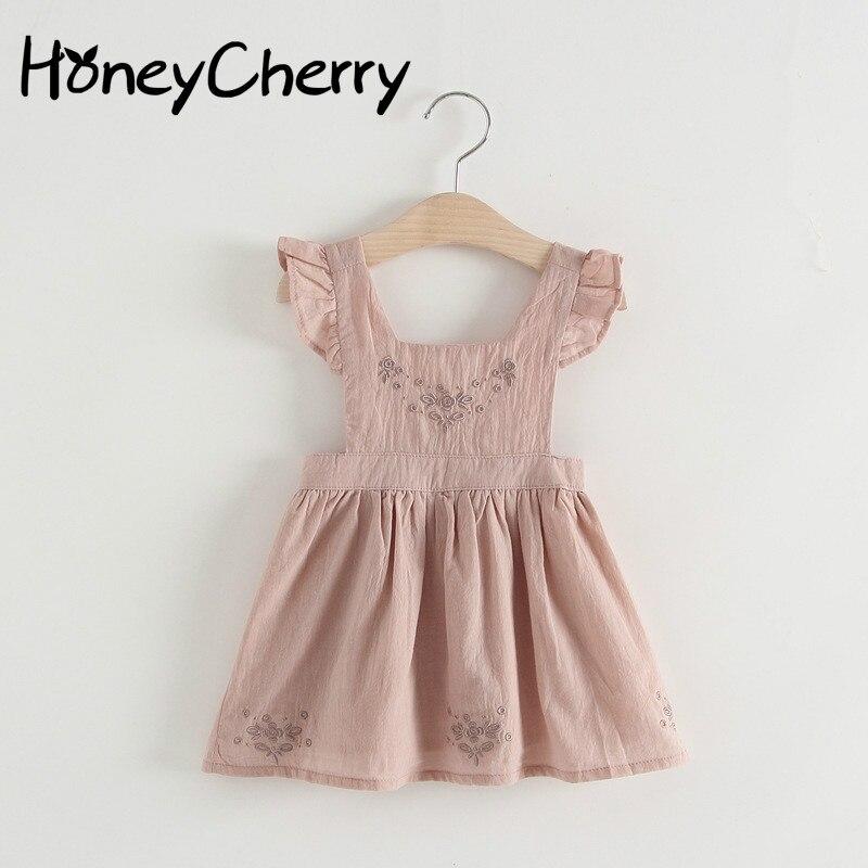 Для девочек розовые подтяжки платье принцессы для маленьких девочек одежда платья для девочек, Q002 вечерние и свадебные для девочек на день ...