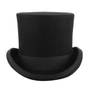 Image 2 - Gemvie 17cm 100% 울 펠트 비버 하이 탑 모자 토퍼 더비 실린더 모자 여성용 남성용 매드 해터 파티 의상 마술사 모자