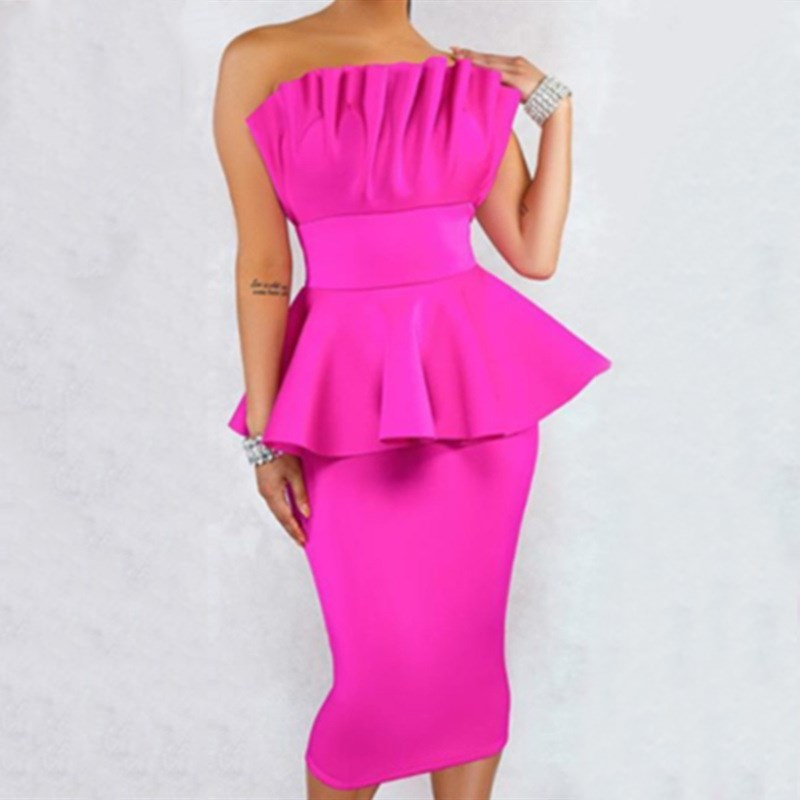 Peplum Dresses Sexy Off Shoulder Fake 2 Pieces Bodycon Dress Ruffles Women Night Clubwear Tight Backless Tunic Party Dress in Dresses from Women 39 s Clothing