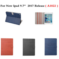 Case for iPad 9.7 2017 wood grain PU Leather Smart Folio Case Auto Wake Cover case for New iPad 2017 Release 9.7 inch A1822