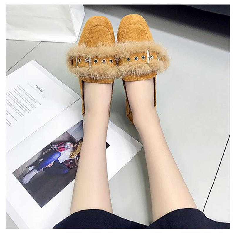 2017 Autumn Women Casual Shoes Female Fur Loafers Shoes Woman Fashion Slip On Shoes Comfortable Square Toe Flat latest style women s loafers girl white shoes fashion women s shoes 2017 ox fur embroider deodorization massage