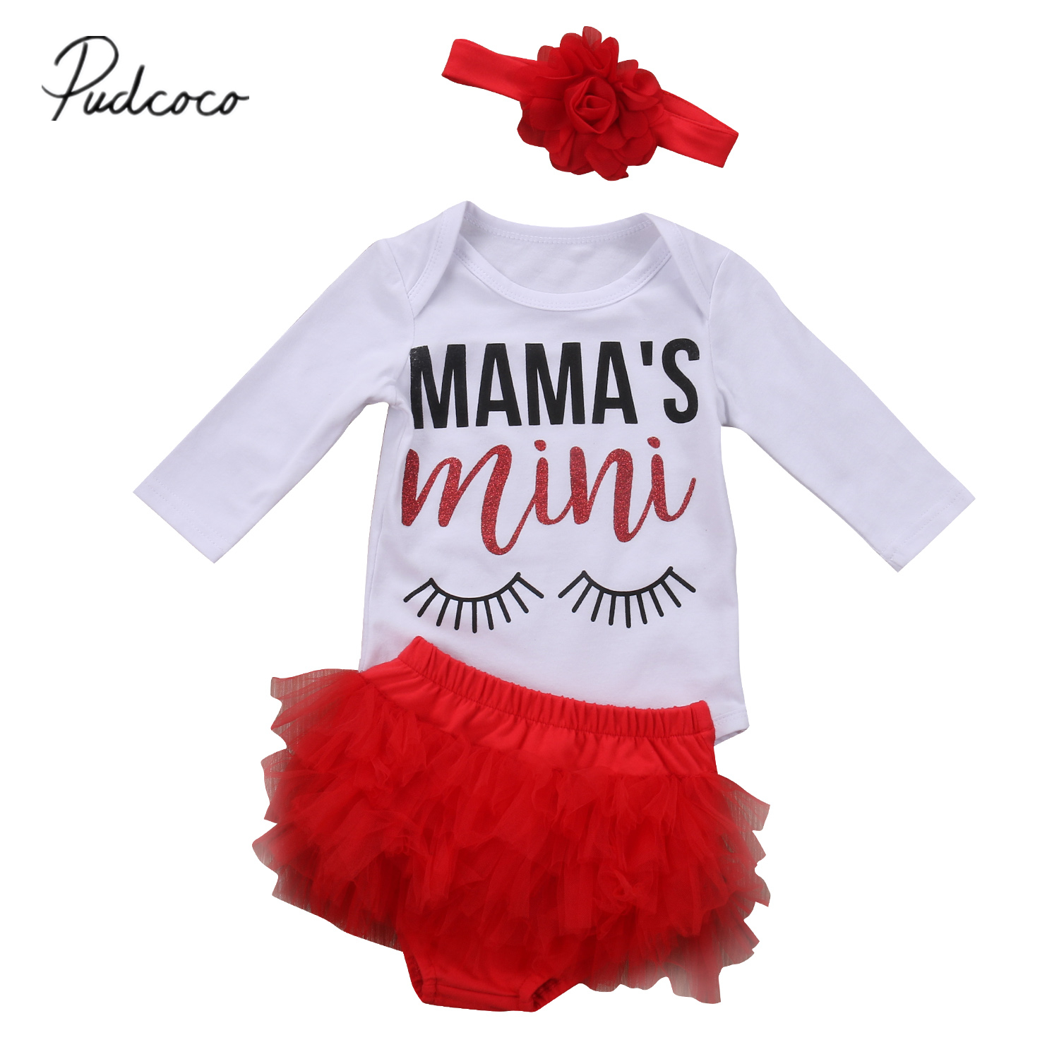 Pudcoco 2017 Newborn Baby Girls Long Sleeves Mini Rompers+Tutu Lace Red Shorts Ruffle Outfits Clothes 0-24M