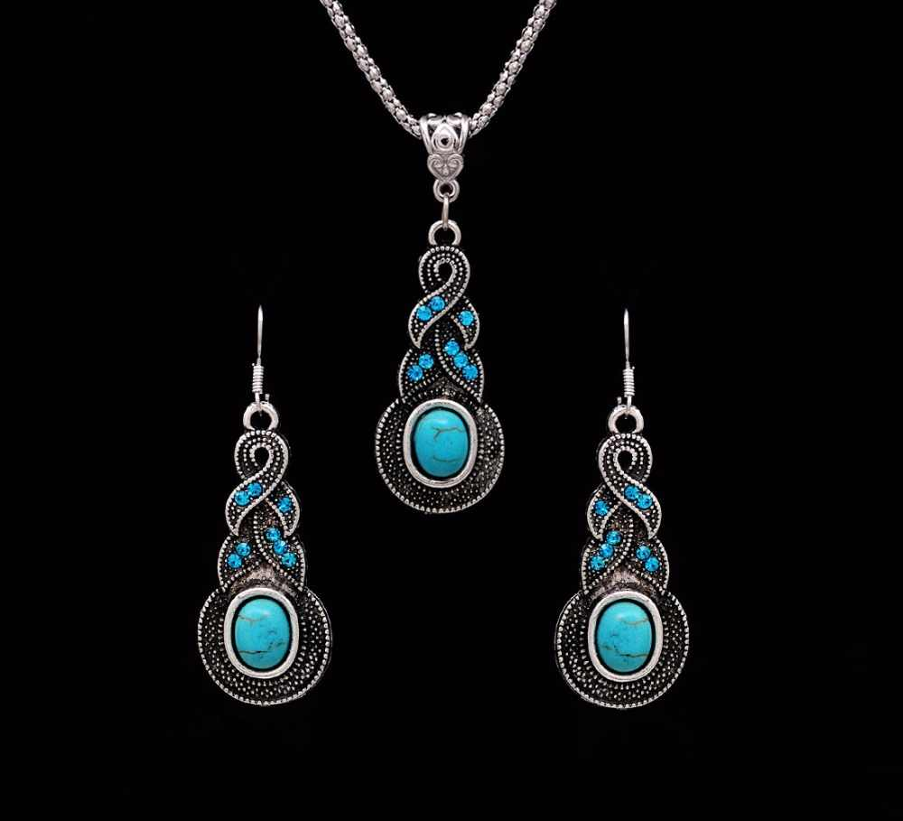 Crazy Feng Fashion Jewelry Hot Sale Ethnic Blue Stone Jewelry Sets Tibetan Silver Necklace Earrings For Women Free Shipping