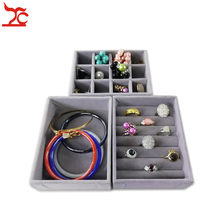 New Multi-functional Small Grey Velvet Drawer Cabinet Jewelry Organizer Case Wooden Ring Bracelet Necklace Earring Storage Tray(China)