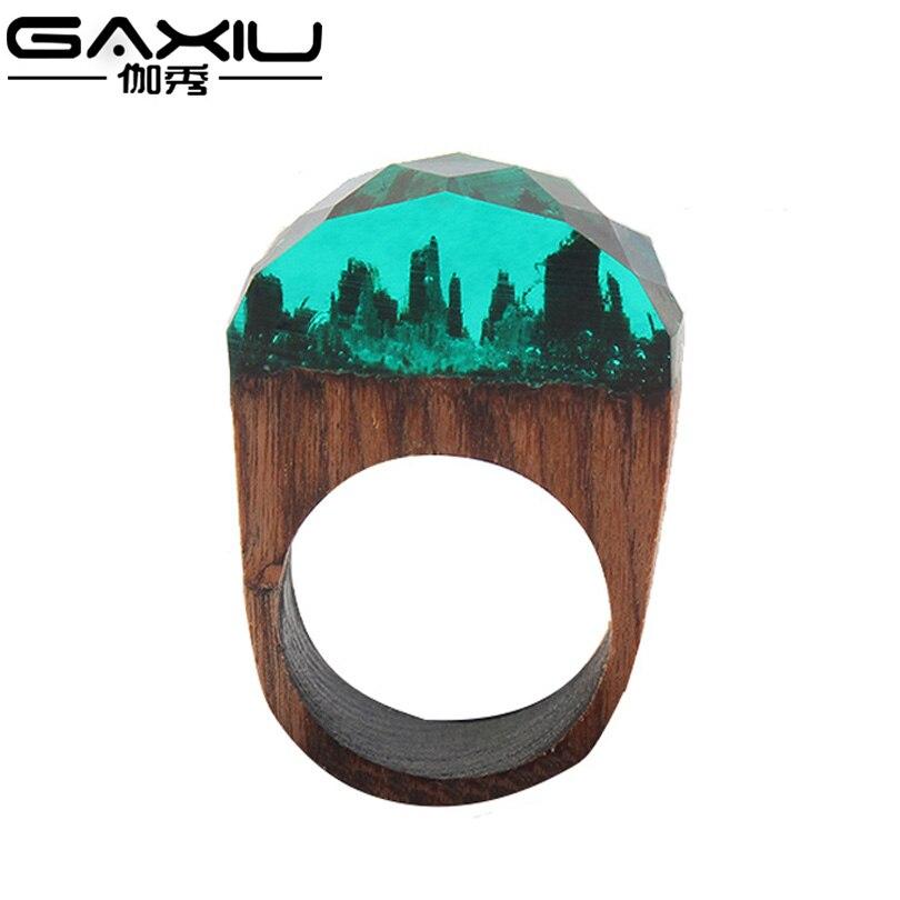 Ring Of Wood Resin Secret Wedding Rings Women Magic Forest