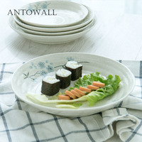 ANTOWALL Chinese, Japanese Korean tableware disc soup plate deep dish Hokkaido red blue cherry blossom series household dish set