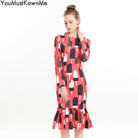 by Megyn winter dresses women 2018 long sleeve ice cream print red bodycon mermaid dresses party night club dress for woman