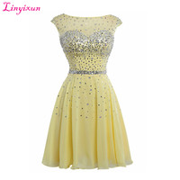 Linyixun Real Photo Hot Sale 8th grade prom dresses Scoop A Line Short Homecoming Dresses 2017 Beaded Sexy Dress For Graduation