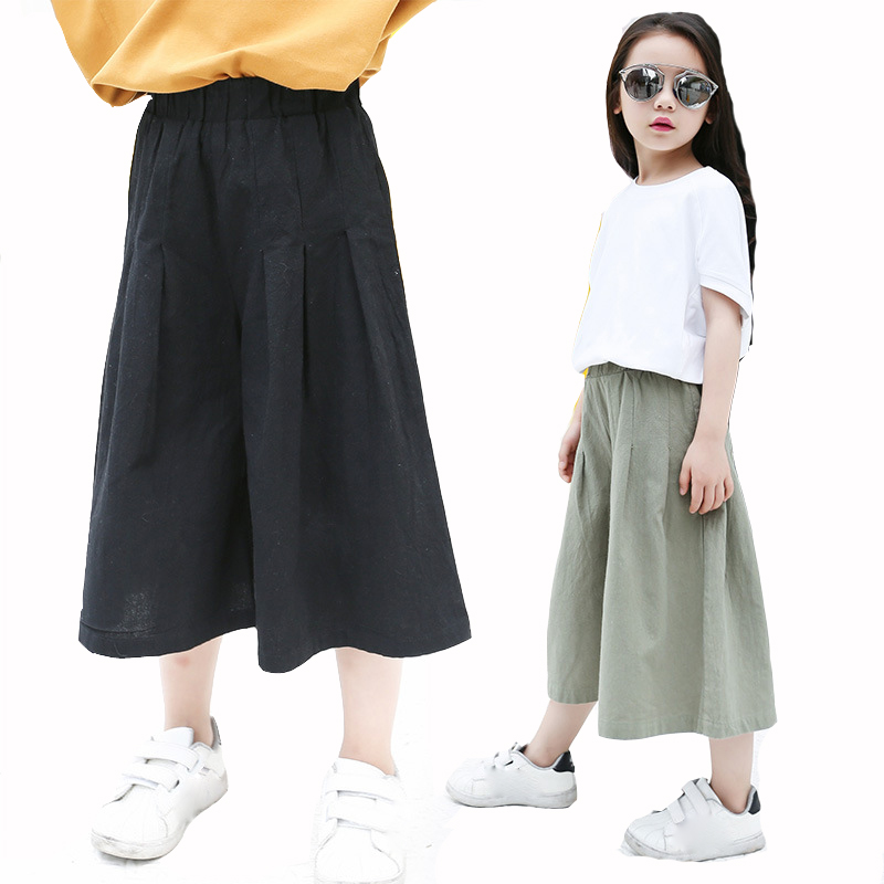 Girls Pants Solid Trousers for Kids Loose Pants for Girls Wide Leg Pants for Children Cotton Bottoms Teenagers Pants Skirts floral wide leg drawstring pants