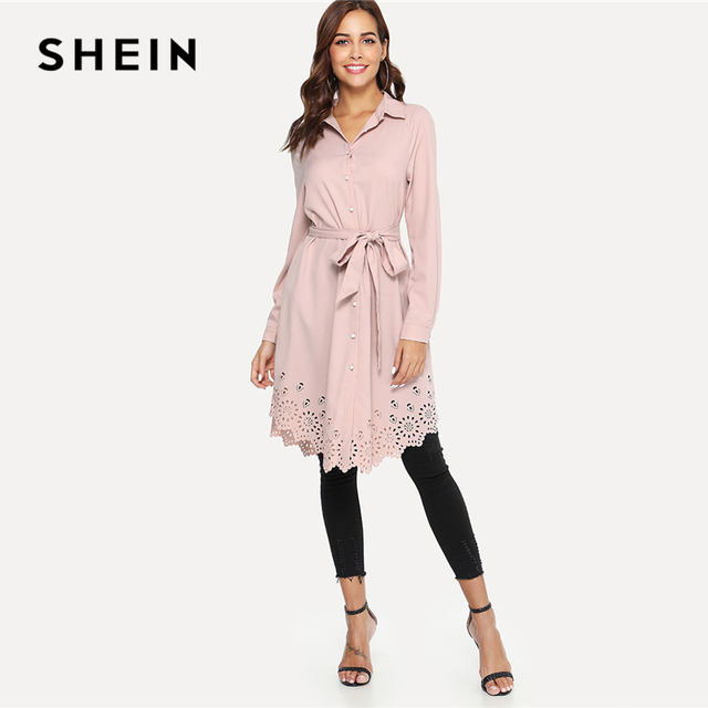 19ff140feb SHEIN Pink Elegant Office Lady Workwear Laser Cut Scallop Trim Self Belted  Stand Collar Shirt Dress Autumn Women Casual Dresses