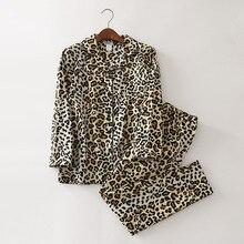 Pijama con estampado de leopardo para mujer, ropa de dormir gruesa de algodón cepillado 2019, conjunto de 2 piezas, manga larga, cintura elástica, S87391