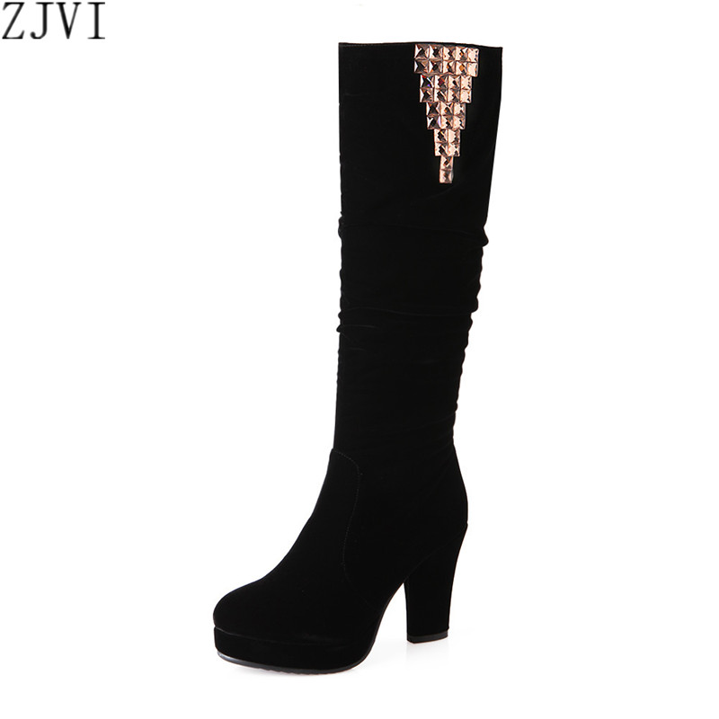 ФОТО ZJVI sexy nubuck flock womens knee high Black Riding boots new winter thick high heels shoes women fashion thigh high boots