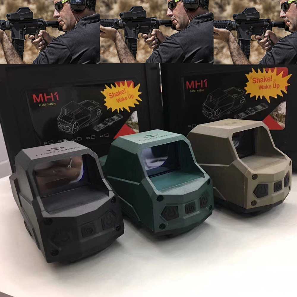 MH1 Tatical Optics Red Dot Sight Reflex Sight Largest Field of View Night Vision Dual Power Source  Black