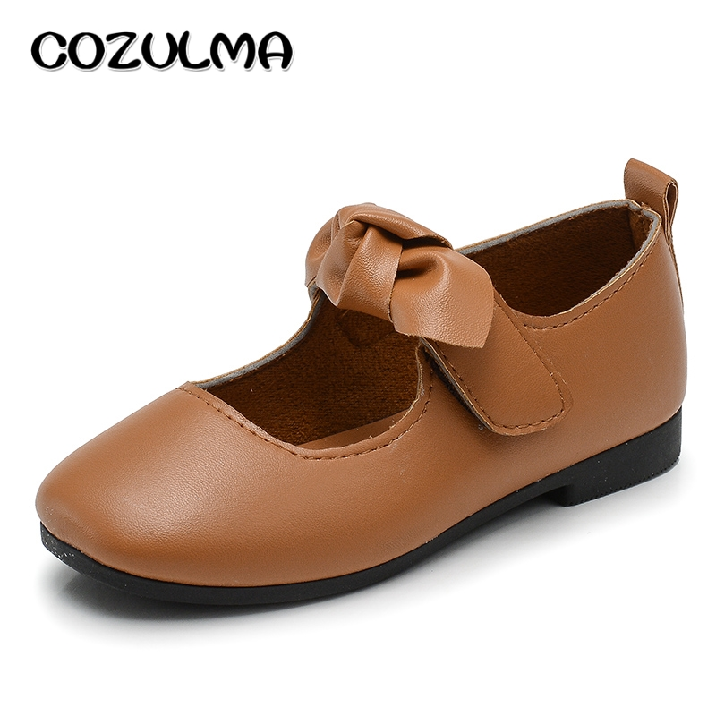 COZULMA Barn Pu Läder Skor Tjej Mode Bow Mary Jane Shoe Baby Girl Toddler Princess Strap Flats Girls Dance Party Shoes