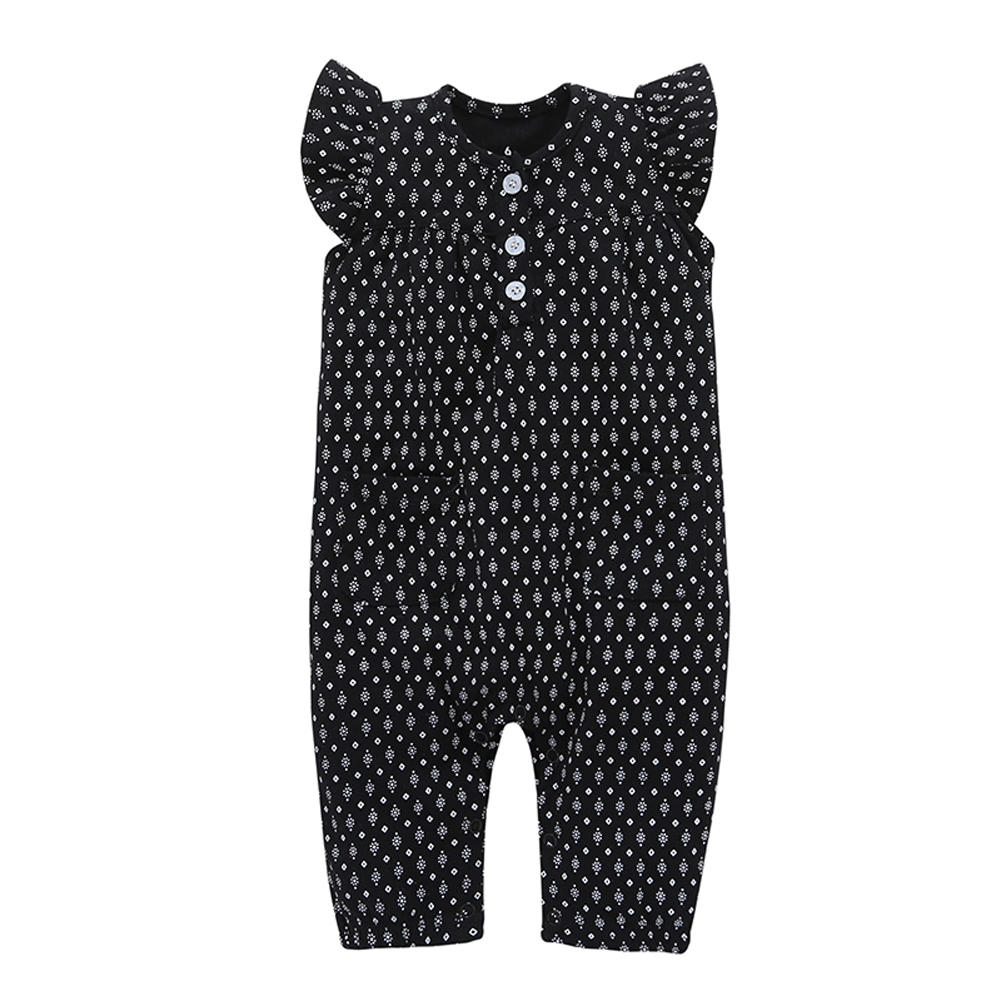 Geometric Print Cotton Baby   Romper   Newborn Short Sleeve Baby Girl Clothes Black Jumpsuit Infant Cute Clothes For Children