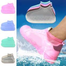 New 1 Pair Reusable Shoes Cover Non-slip Waterproof Silicone Protectors Gray Blue Elastic Accessories