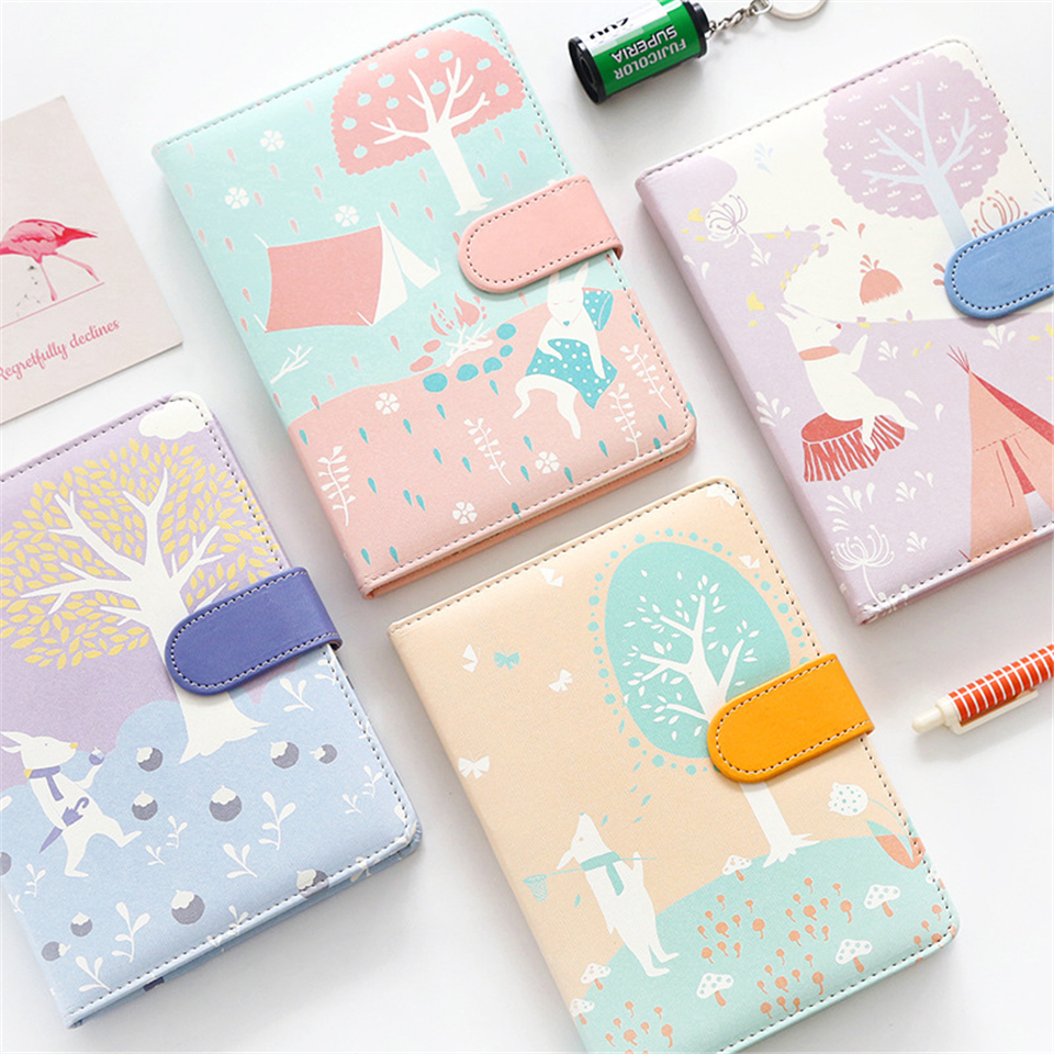 Notebook Leather Dokibook Color Pages Kawaii Animal Travel Journal Schedule Planners Weekly Notebook School Supplies new arrival weekly planner thumb girl notebook creative student schedule diary book color pages school supplies no year limit