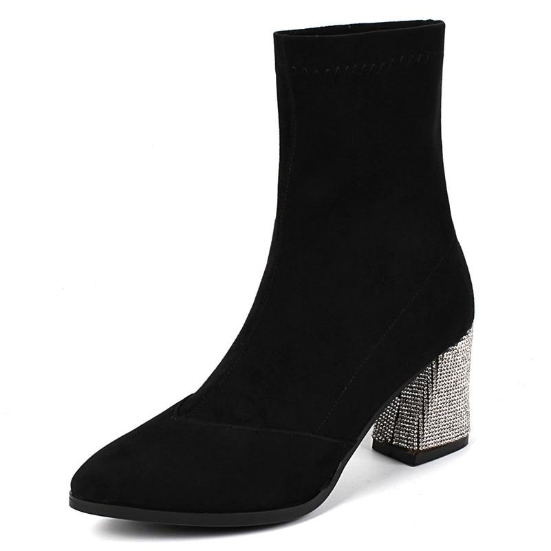 Calidad Otoño Zapatos Tacón Delgado Novedad Alta Strass Fiesta Invierno Baile Botas Bombas Calcetines Tobillo Mujer Sexy Boda Conasco De Negro wYx84F8v