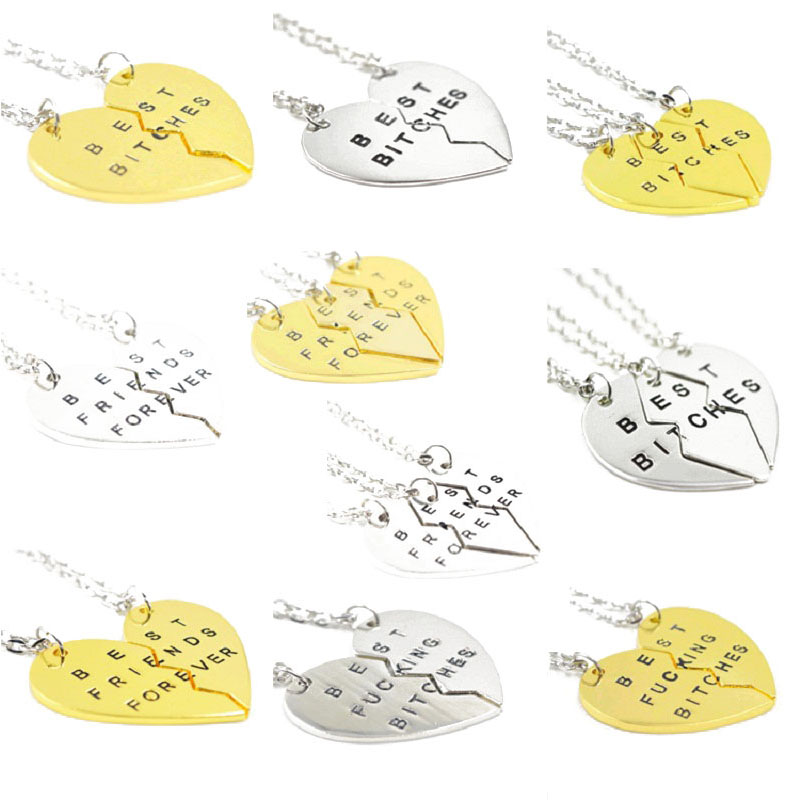 New Fashion Broken Heart 3pcs/set Best Bitches and Best Friends Forever Necklace BFF BFB Pendant Necklace Jewelry