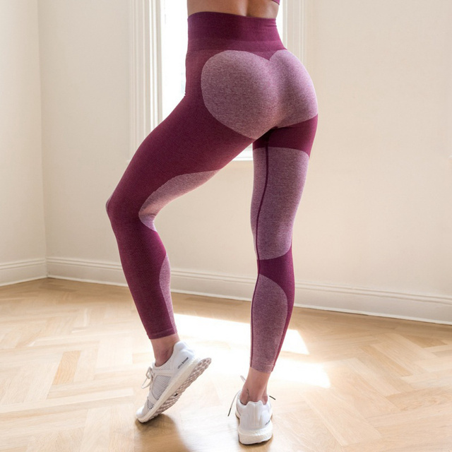 Sexy Super Stretchy Fitness Leggings Women Pattern Push Up Workout Pants High Energy Seamless Tummy Control Skinny Trousers 2018