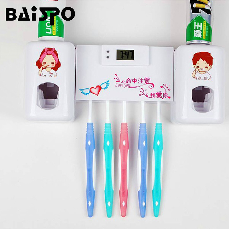 BAISPO Cute Cartoon  Bathroom Accessories Toothbrush Holder For Tooth Brush Holder Wall Mounted Toothpaste Dispenser Gargle Suit