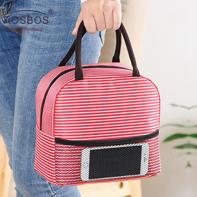 Aosbos Picnic Lunch Bag Portable Thermal Insulated Stripe Cooler Tote Bags Waterproof Food Storage Bags for Women Lunch Box aosbos oxford insulated lunch bags for women kids portable grey thermal lunch bag box men food picnic bento cooler bag tote