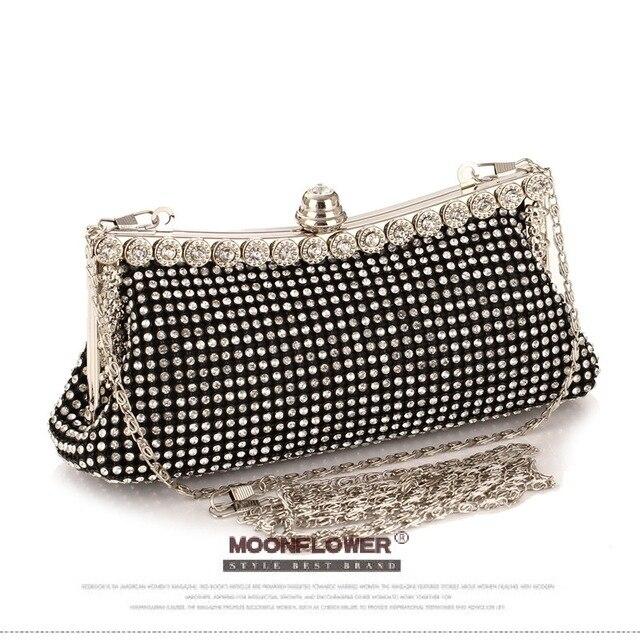 Women's Diamond Clutch Bag Punk Dumpling Shape Full Diamond Evening Bag Party Purse Black/Gold/Silver With Shoulder Chain NO853