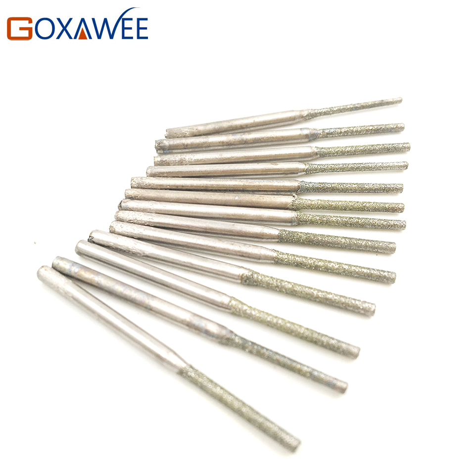 20pcs Diamond Drill Bits Diamond Burs For Jewelry Gems Glass Tile Ceramic Marble Granite Holing Drilling Power Tool Accessories gold 30 holes dental burs holder block 30 dental diamond burs drill