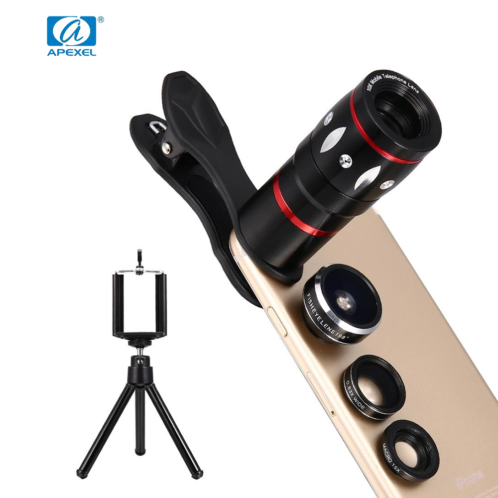 font b APEXEL b font 4 in 1 Clip on Cell Phone Camera Lens Kit