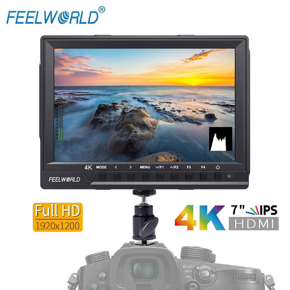 Feelworld FW760 7 Inch IPS Full HD 1920x1200 4K HDMI Camera Monitor for DSLR Rig with Peaking Focus Assist Histogram Exposure