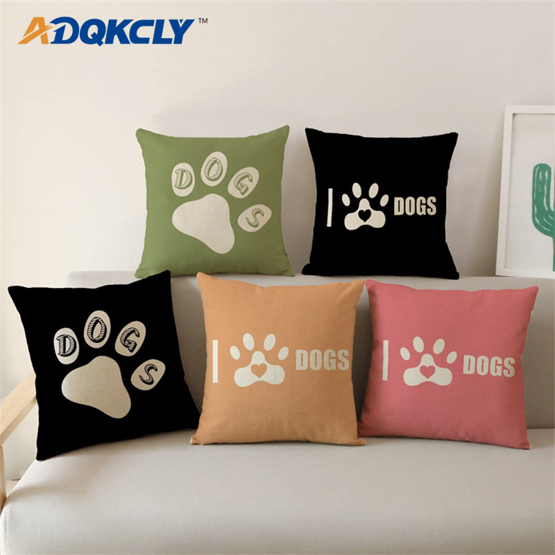 ADQKCLY Cute Foot Pattern Cushion Cover Pet Dog 43*43cm