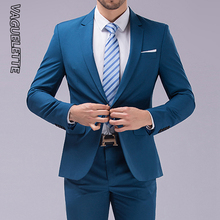 (Blazer+Pants) Causal&Business Suit Men Royal Blue/Pink/Black Elegant Wedding Suit For Men Slim Fit Formal Groom Suit 2019 M-4XL