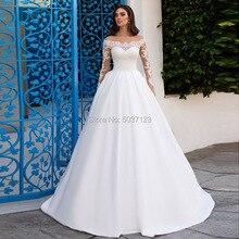 Скромные атласные трапециевидные Свадебные платья 2020 с открытыми плечами Vestidos De Noiva с длинными рукавами и кружевной аппликацией со шлейфом для невесты