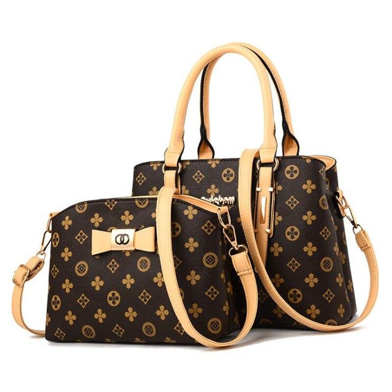 2 pieces / set 2018 new women's fashion shoulder bag handbags Christmas gift retro PU leather handbag 6