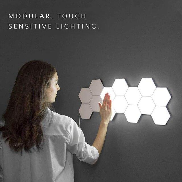 קוונטי DIY מנורת מודולרי מגע אורות משושה מנורת LED לילה אור מגנטי משושים Creative קישוט קיר Lampara