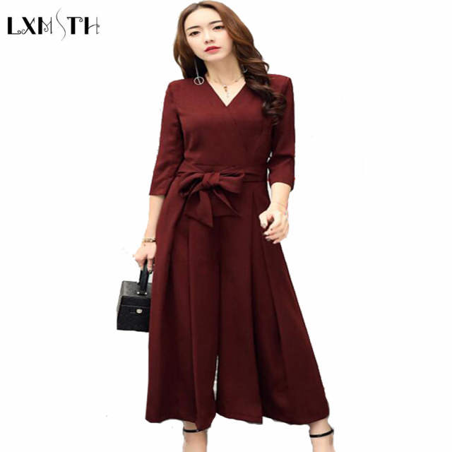 070220b35f Online Shop Korean Women s Wide leg jumpsuit New Arrival Elegant V-Neck  Belted Slim Rompers Womens jumpsuit 2019 Long Pants Plus Size S-3XL