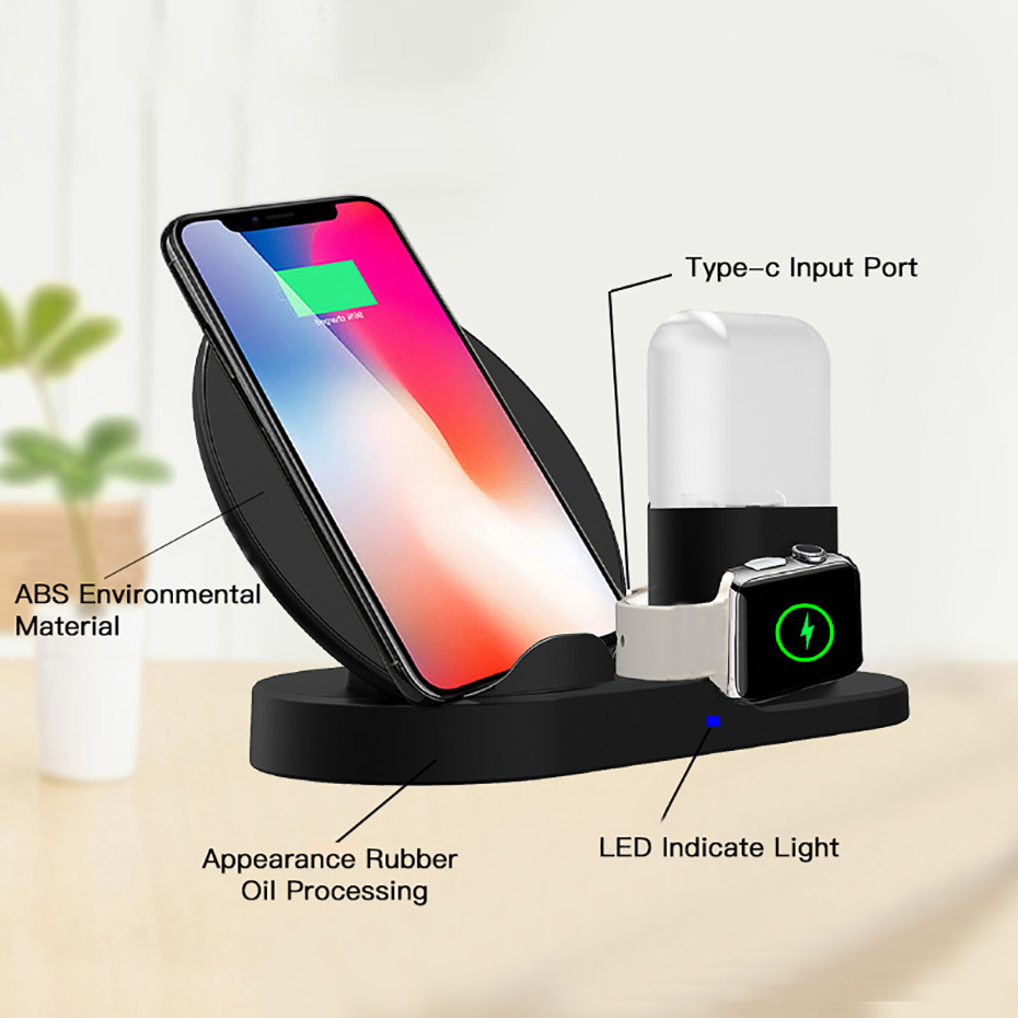 Fast Charge Wireless Charger For Iphone XS XR XS Max 3 In 1 Wireless Charger Dock Station For Apple Watch Series 1 2 3 4 Airpods (6)