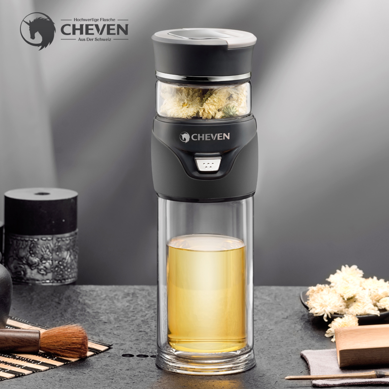 CHEVEN 450ML Business Type Glass Water Bottle with Stainless Steel Tea Infuser Filter Double Wall Glass
