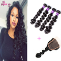 Ross pretty Peruvian loose wave virgin hair with closure 3 bundles loose weave  with closure Pervian virgin hair with closure